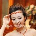 Красный кристалл свадебные диадемы позолота свадьба корона волос ювелирные изделия
