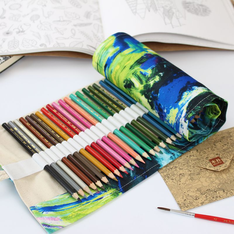 36/48/72 Holes Cat Pencil Case Canvas Art Drawing Pen Bags Wrap Roll Up Holder Printing Storage Pouch School Offices Suppiles