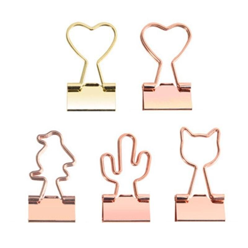 12pcs Creative Rose Gold Cat Heart Cactus Binder Clip Paper Pile Photo Message Ticket Clips Organizer Office School Supplies C26
