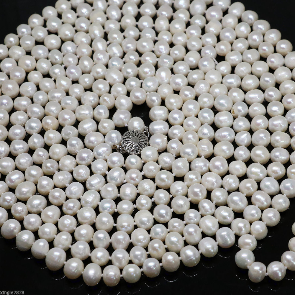 Naturel 7-8mmWhite Akoya Perle de Culture Collier Long 108''