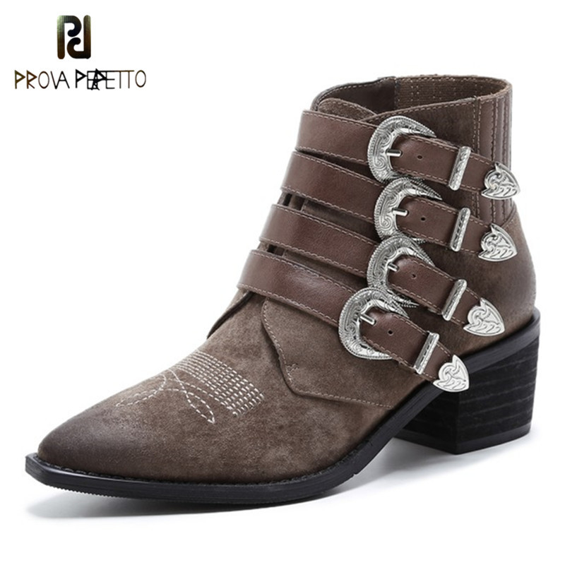 Prova Perfetto New Style Pointed Toe Mid Heels Boots Zapatos Mujer Tacon Ankle Boots Real Leather Buckle Woman Chelsea Boots original 10 1inch lcd screen for yoga2 tablet2 1050f lc 1051f 10 tablet pc free shipping