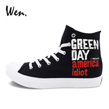 Wen Hand Painted Shoes Black Canvas Sports Sneakers Design Green Day Skateboarding Shoes Men Women High Top Flat