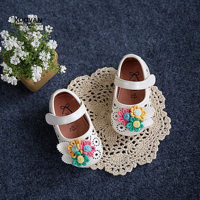 Koovan Baby Flats 2017 Spring Shoes Brand Small Hollow Baby's Toddler Leather Flat Children's Girls Female Firstwalker Flowers