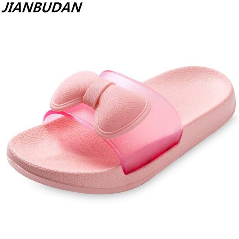Lumière confortable respirant la maison pantoufles papillon noeud mignon plat anti-dérapage de bain pantoufles fond mou porter Plage chaussures