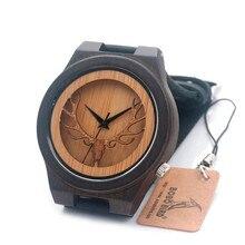 BOBO PÁJARO relojes de Los Hombres de Cabeza de Ciervo de Ébano De Madera de Cuarzo Reloj deportivo Hombres Reloj con Correa De Piel Genuina en caja de Regalo