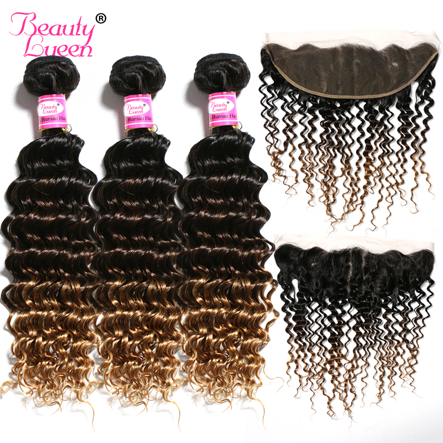 Blonde Ombre Deep Wave Bundles With Lace Frontal Closure Human Hair 3 Bundles With Closure Remy