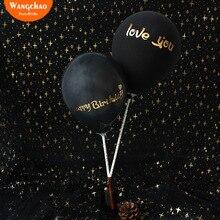10 шт./пакет Топпер для торта «С Днем Рождения» черный воздушных шаров тортов украшения с надписью «I Love You» свадебный торт Decora Baby Shower вечерние поставки