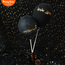 10pcs/bag Happy Birthday Cake Topper Black Balloon Cake Decorations I Love You Wedding Cake Decora Baby Shower Party Supplies 10pcs lot love heart balloon cake topper happy birthday party cake decoration kids beautiful favors and gifts baby shower decora