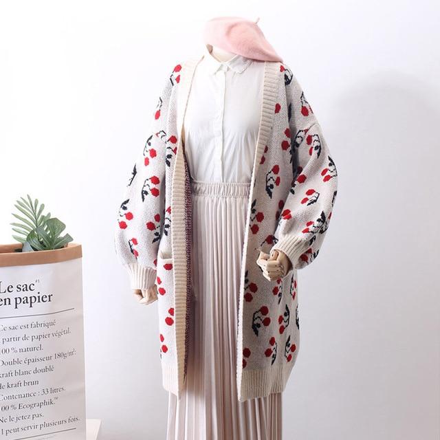 Women Spring Sweater Cherry Pattern Cardigans Outwear Knitted Coat