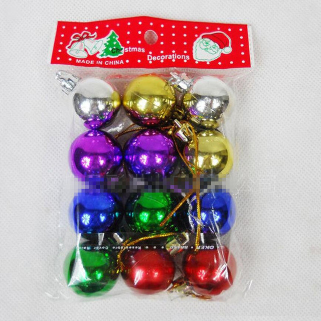 2016 new year christmas tree decoration 12pcsbag diameter 3cmchristmas balls decorations gift