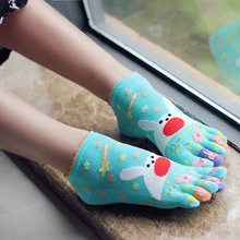 BooLawDee Women short cartoon 5  toe socks full 100% cotton breathable comfortable anti-odor for female summer and spring Z305