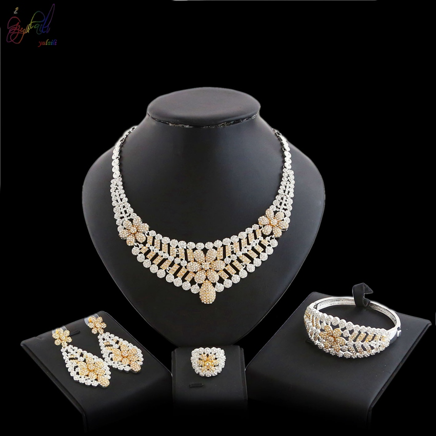 YULAILI 2018 Latest Best Quality Fashion Dubai Gold Color Jewelry Sets African Women Big Necklace Jewellery