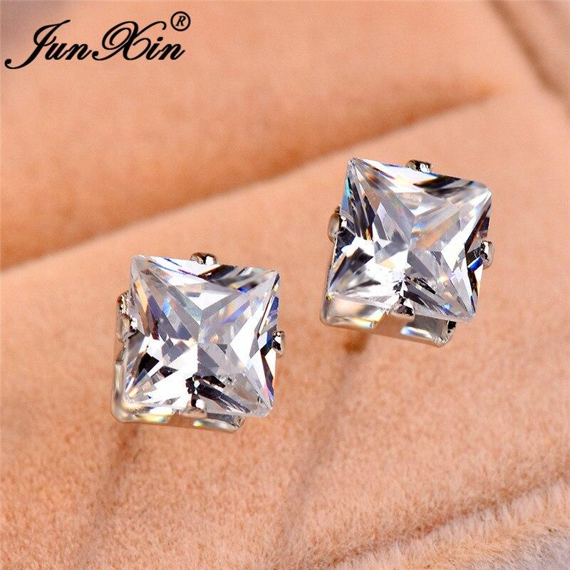 JUNXIN Small Square Stud Earrings For Women Silver Color White Black Blue Purple Rainbow Fire Zircon Earrings Female Earing