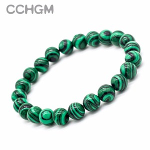 2017 New Natural Chrysocolla Malachite stone beads bracelets for women round beads bracelet jewelry with pendant vintage jewelry(China)
