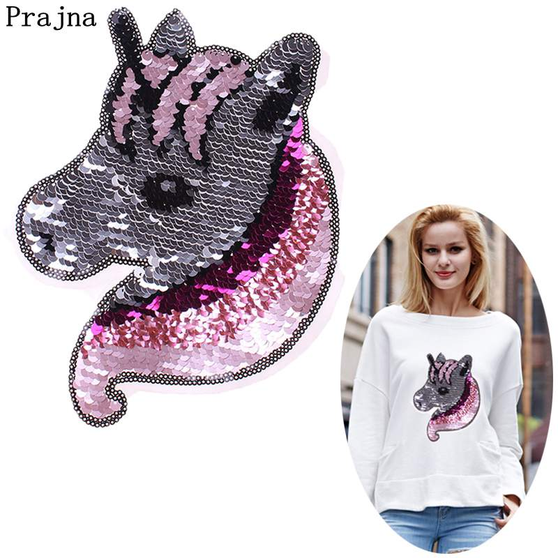 Prajna Unicorn Stickers Patches Reversible Change Color Sequins For Clothing Cartoon Decoration Colorful Applique Jacket