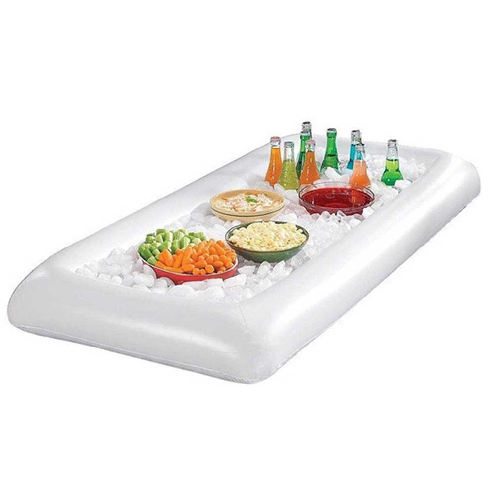 New Summer Inflatable Beer Table Pool Ice Bucket Salad Bar Tray Food Drink Dining Table Creative Party Float Water Air Mattress