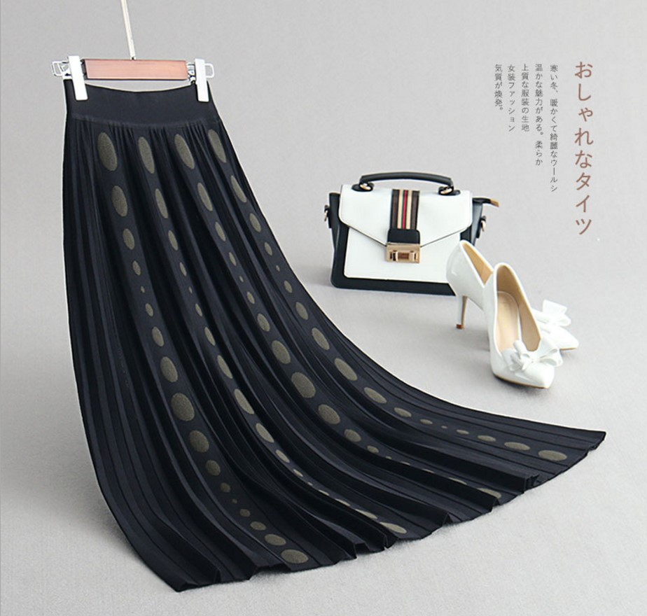 Oversize Stretch Tricoté Femmes 1 Élastique 3 Jupes Plissée Taille Vintage Hiver Midi Chaud Ol Jupe Pour Gtgyff Haute Ceinture 2 qwSBgEnXx