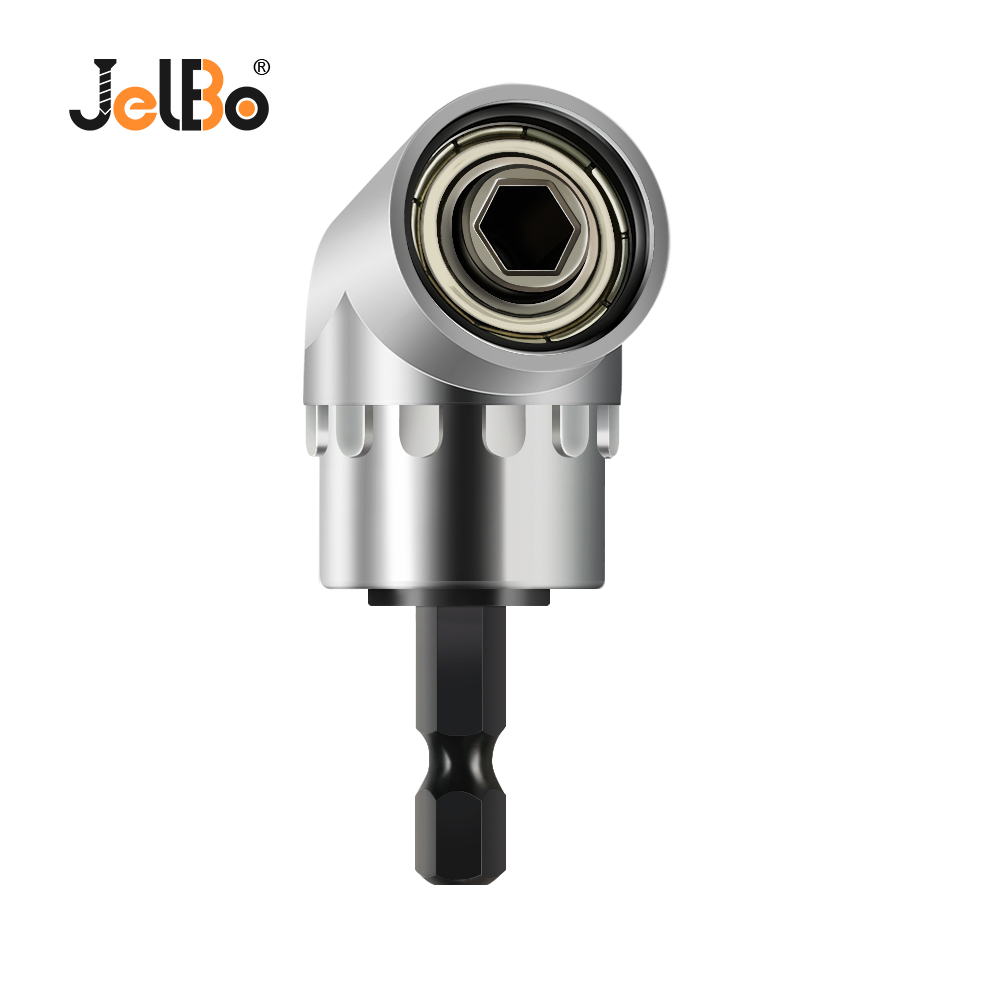 JelBo 105 Degrees Right Angle Adapter Drill Bits With 1/4'' Hex Shank Driver Extension Tool For Power Screwdriver Adapter Holder