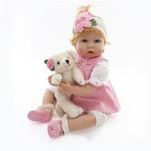 2017 New 22Inch 55cm Silicone Reborn Dolls Babies Juguetes Realistic Reborn Baby Bonecas Children Toys Brinquedos Menina