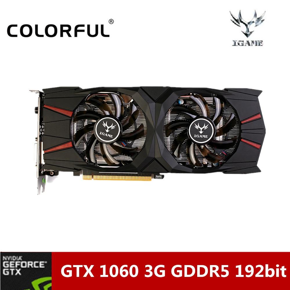 Coloré NVIDIA GeForce GTX 1060 3G Gaming Carte Graphique 8008 MHz GDDR5 16nm 192bit Carte Vidéo Avec Deux Ventilateurs pour Bureau