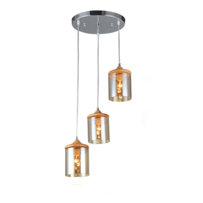 Modern minimalist Three-ply chandelier table room Kitchen Suspension lamp Solid wood glass Dining ight