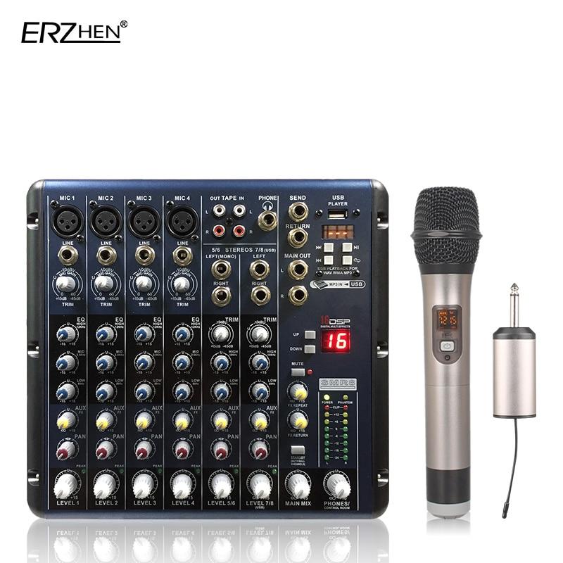 KüHn Audio-mischpult W7000t8 Professionelle Mischer Audio-verstärker Sound Processor 8 Kanal Dj-equipment Tragbares Audio & Video