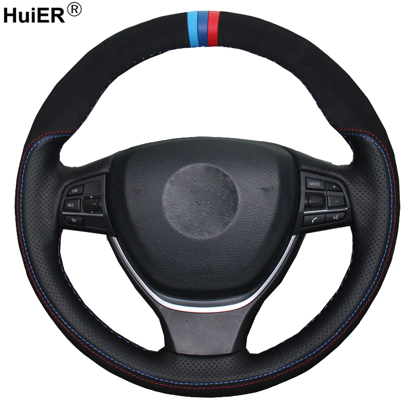 Hand Sewing DIY Car Steering Wheel Cover Suede Leather For BMW F10 2014 520i 528i 2013