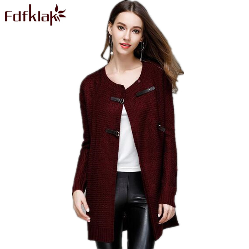 Fdfklak Wine Red/Navy 2018 Spring Womens Spring Jacket Long Sleeve Female Sweater Cardigans For Women Long Ladies Sweaters Q776