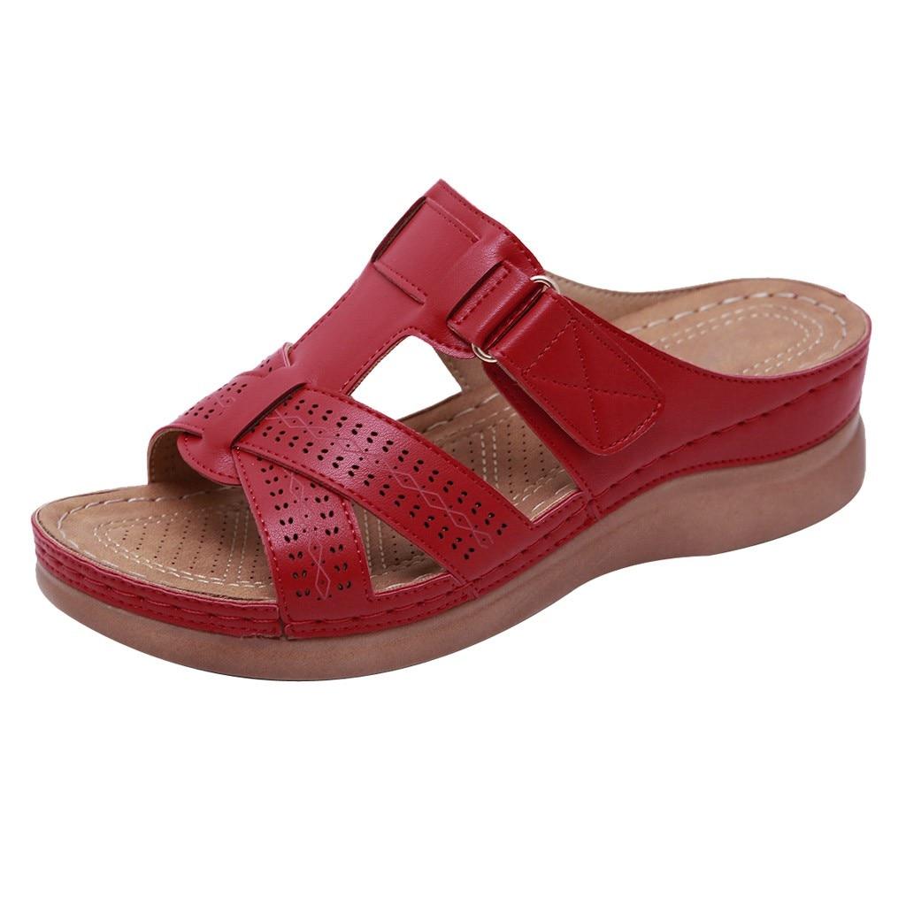 SAGACE Comfy Sandals Loop Casual Wedges Women Slippers Open-Toe Hook No