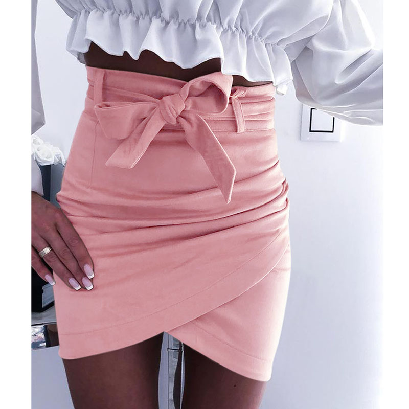 Sexy Women Summer Solid Casual Crossover Straps Slim Skirt Office Ladies Elegant Fashion Euro Style Irregular Mini Skirt SJ2685E