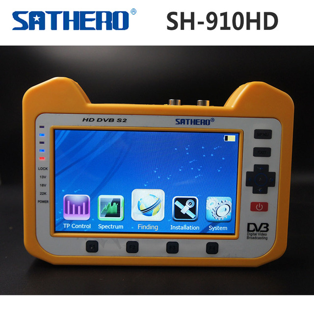 US $210 7 10% OFF|[Genuine] Sathero SH 910HD DVB S2 Digital Satellite  Finder Meter Satfinder HD with Real Time Spectrum Analyzer Function 7  inch-in