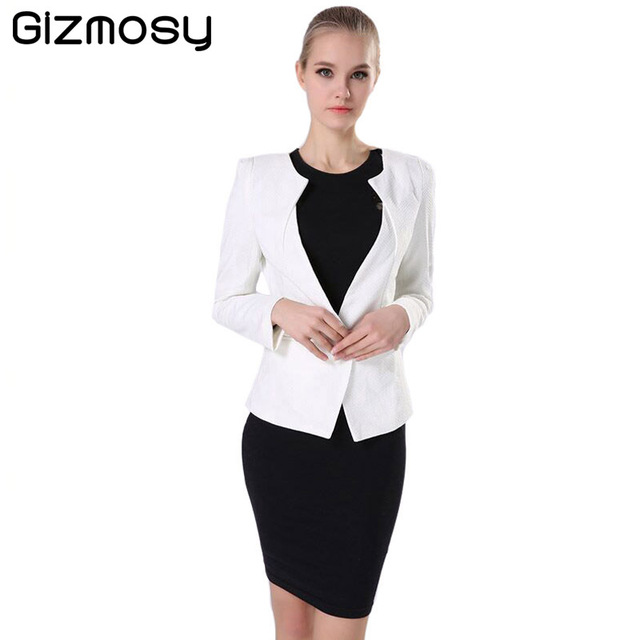 Spring Women Slim Blazer Coat 2016 New Fashion Casual Jacket Long Sleeve One Button Suit Ladies Blazers Work Wear BN026