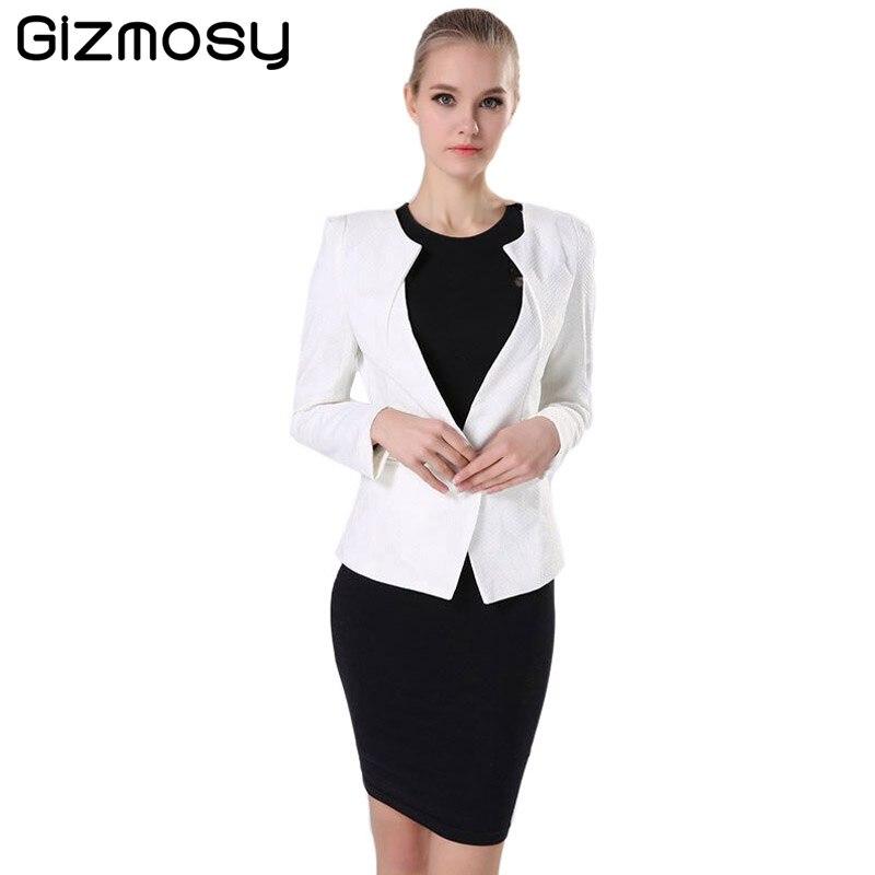 Spring Women s Jacket Slim Lady s 2018 New Casual Warm Jackets Long Sleeve  One Button Suit Coat Female Blazer Work Wear BN026-in Blazers from Women s  ... 4e885d07012b