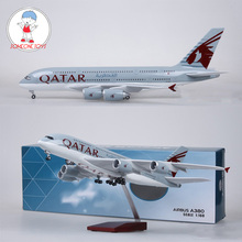 1/160 Scale 45.5cm Airplane Diecast QATAR Airline Model Airbus A380 With Light and Wheel Resin Plane Collection Children Gifts 36cm a380 qatar airlines airbus model qatar international aviation airways resin aircraft model airplane a380 plane model gift