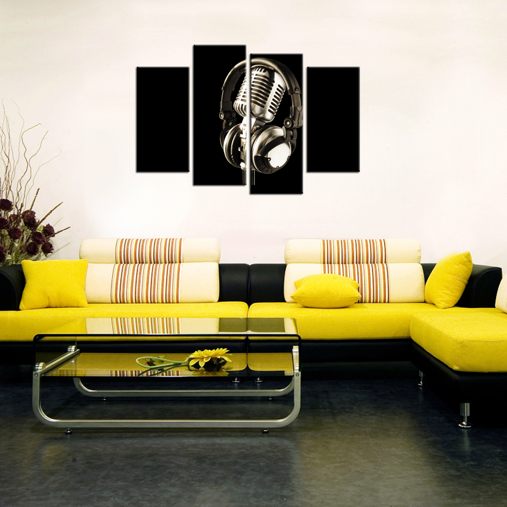 Living Room Decor Modern Painting Music Microphone Inspirational ...