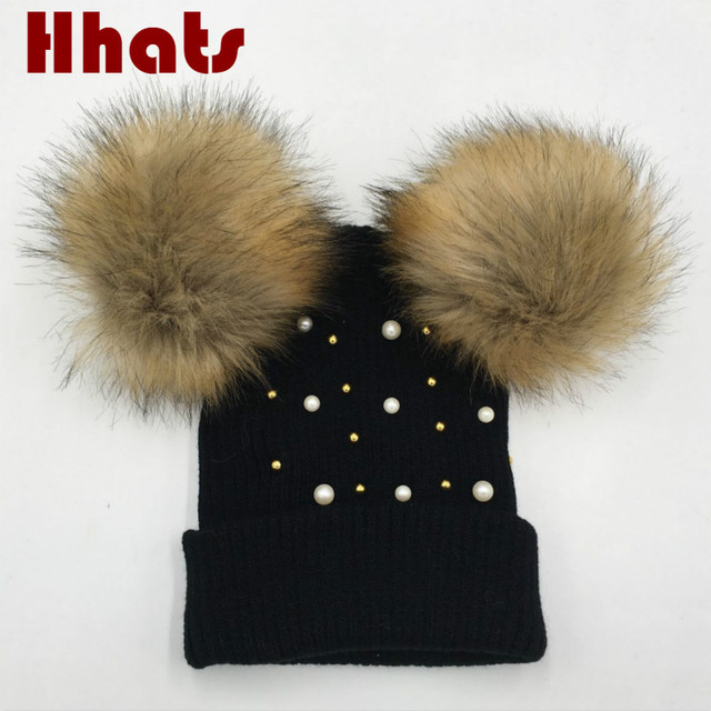 Que en la ducha negro gris perla doble Faux fur pompom sombrero de invierno  de las 2b57af2c695