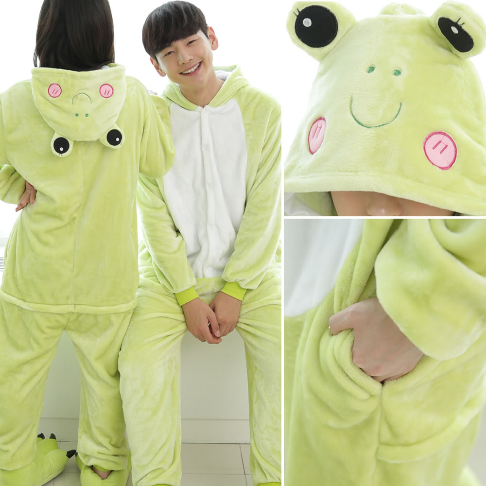 Adult Women Men Onesies Frog Cosplay Costume Halloween Party dress Flannel fleece Pajamas Couple Pyjamas Winter Warm Sleepwear