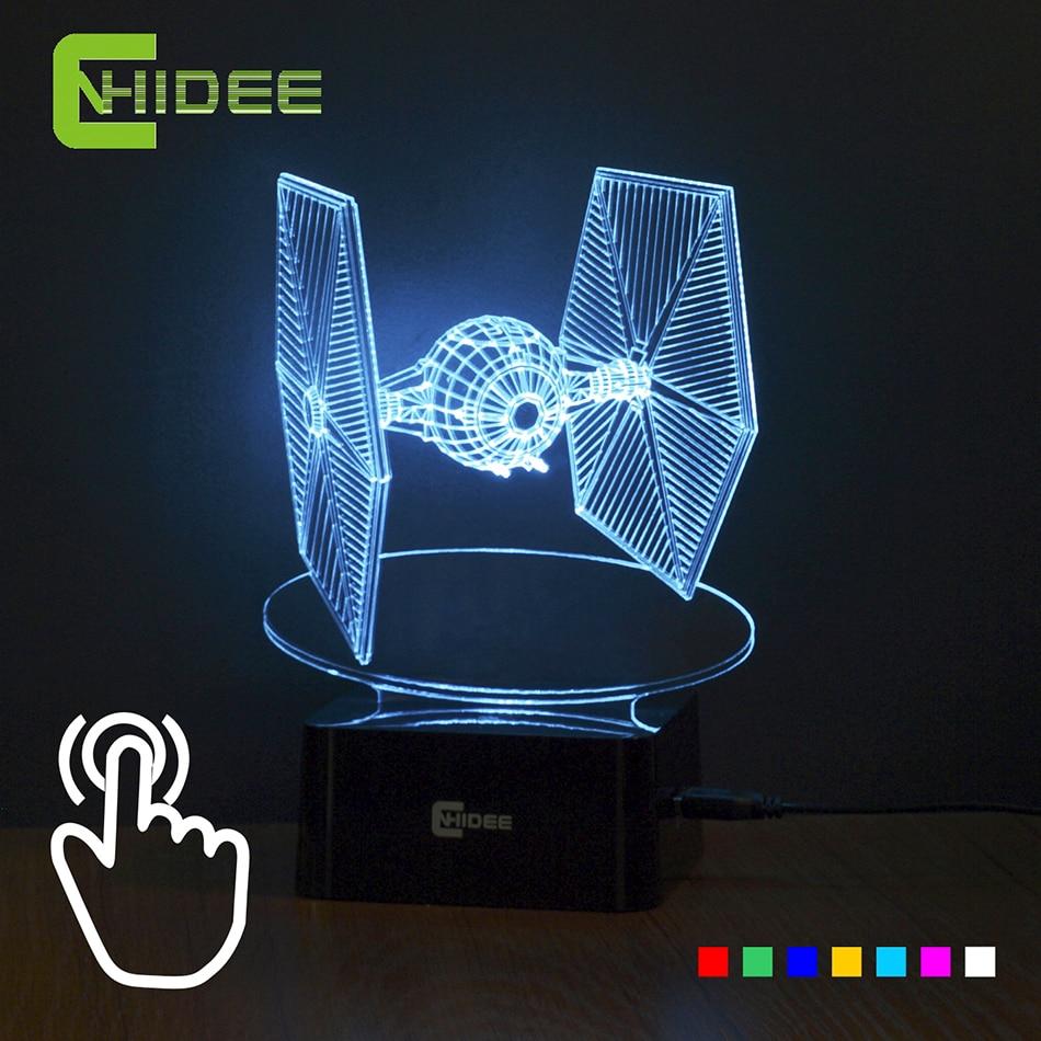 creative cadeaux star wars tie fighter lampe 3d déco vision bureau