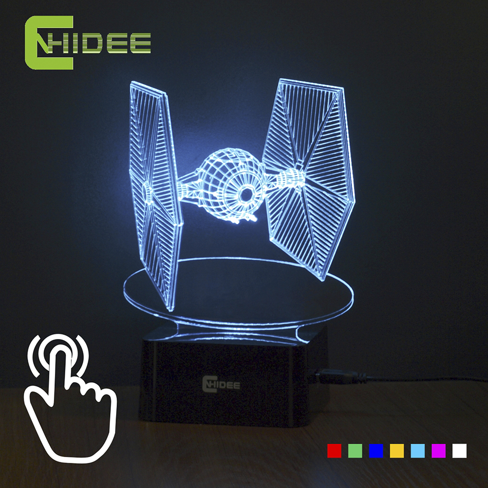Creative Gifts Star Wars Tie Fighter Lamp 3D Deco Vision Desk Lampara Led USB 7 Colors Changing Baby Sleeping Night Light
