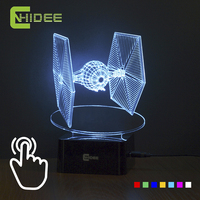 CNHIDEE Creative Gifts Star Wars Tie Fighter Lamp 3D Deco Vision Desk Lampara USB 7 Colors