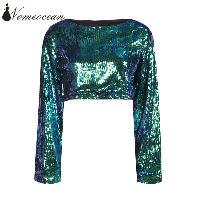 d8bd89d8d3 Metallic Sequin Bell Sleeve Top Gradient Color Paillette Women T shirts  2018 Spring Crop Tops Long Sleeve T shirt M17121411-in T-Shirts from  Women s ...
