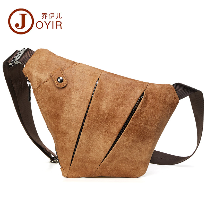Vintage Unique Design Genuine Leather Men Chest Bag Natural First Layer Cow Leather Men Messenger Bags Fashion Casual Men Bag