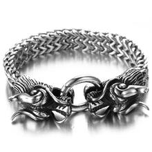 Granny Chic Double Dragon Head Men Bracelet For Friendship Mens Bracelets Punk Rock Stainless Steel Male Jewelry