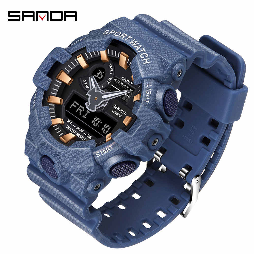 SANDA new men's watch LED outdoor G style military digital watch luminous denim men's sports watch relogio masculino