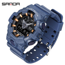 SANDA new mens watch LED outdoor G style military digital luminous denim sports relogio masculino