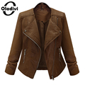 Oladivi 2016 New Women Leather Jackets and Coat Slim European Style Short Faux Leather Jacket Outwear Plus Size 5XL Top Overcoat