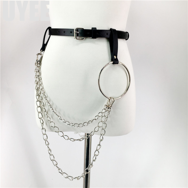Bright Uyee Fashion Design Sexy Leather Belt For Women Punk Harajuku Big O Ring Belt Exaggerated Big Metal Ring Hoop Harness Lz-001-3 Relieving Rheumatism Apparel Accessories