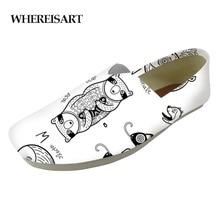WHEREISART  Walking Men Print Flat Casual Shoes Loafers Lazy Animals Alphabet Studnets Slacker