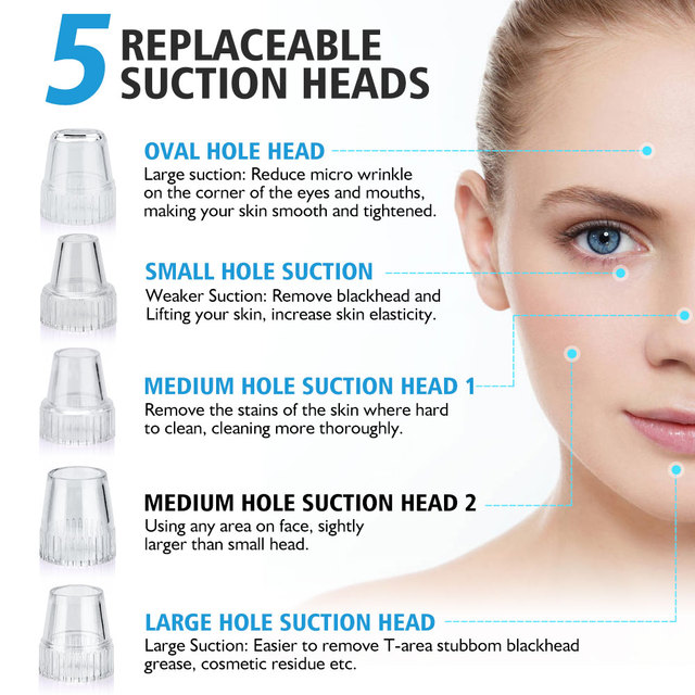 Blackhead Skin Care Face Deep Pore Acne Pimple Removal Vacuum Suction Facial Diamond Beauty Tool