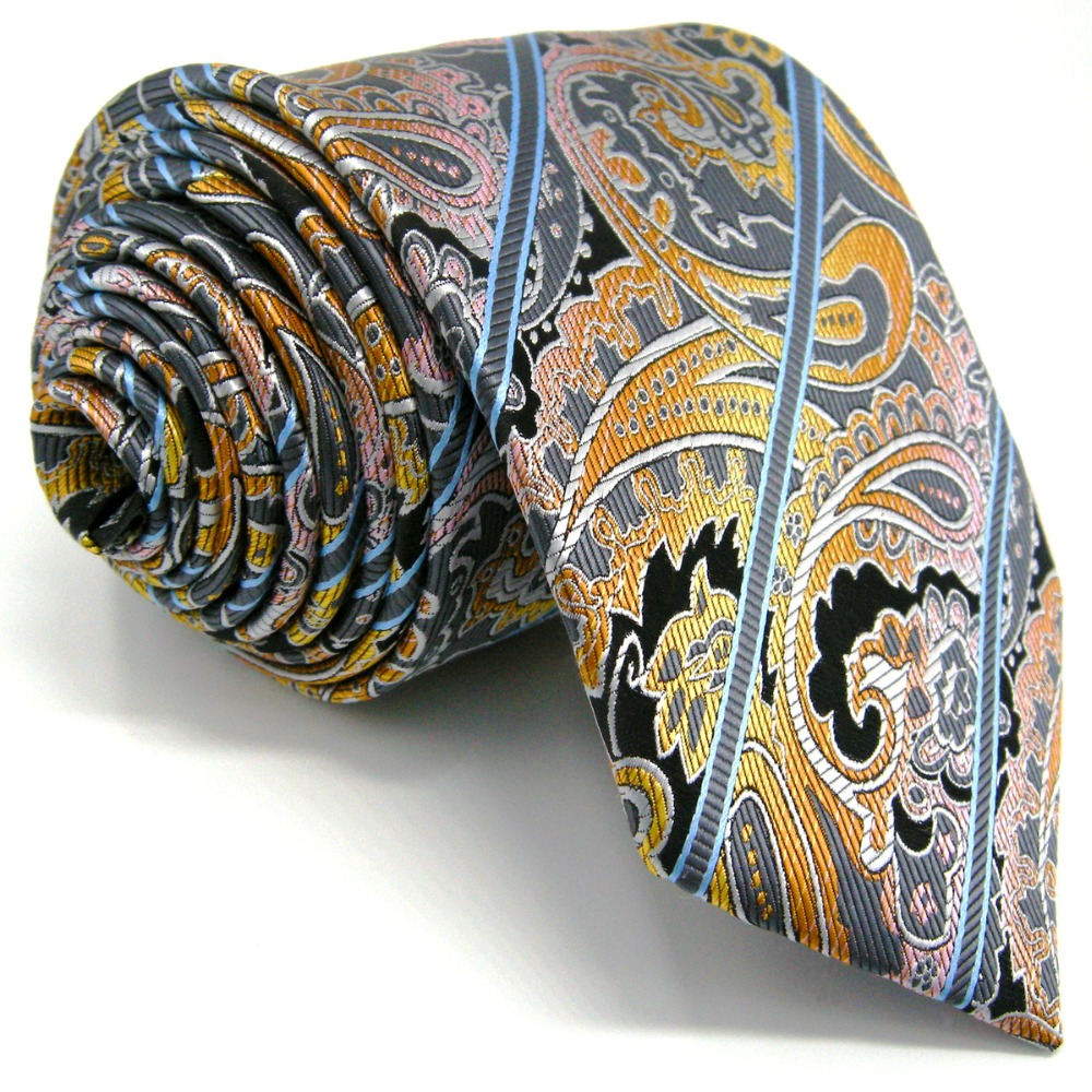 A15 Multicolor Striped Paisley Silk Jacquard Woven Classic Fashion Mens Necktie Set Tie extra long size Hanky 63